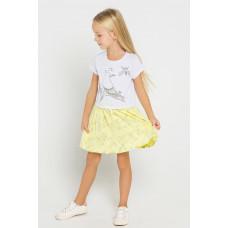 5441 Платье/св.серый меланж, бл.лимонный