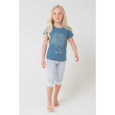 1548 Пижама /джинсовый, цветочный луг на меланже