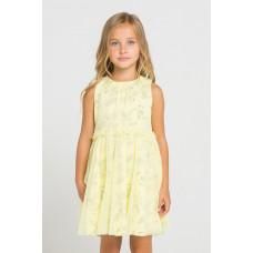 5442 Платье/бледно-лимонный, летние цветы
