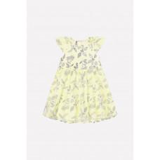5537 Платье-боди/бледно-лимонный, летние цветы