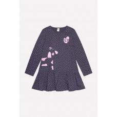 5463 Платье/темно-серый, горошки к1236