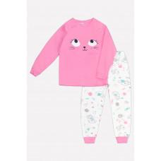 1530 Пижама /тепло-розовый, котята с клубочками на сахаре