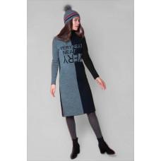 503/1ш платье/тем.синий, тем.серый меланж