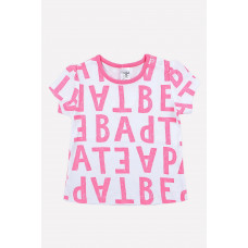 300044 Фуфайка /розовые нарисованные буквы на белом