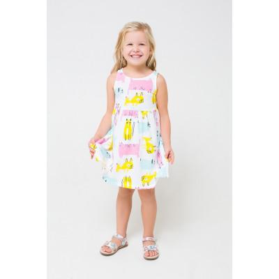 5589 Платье /белый, кошки, собаки к1244
