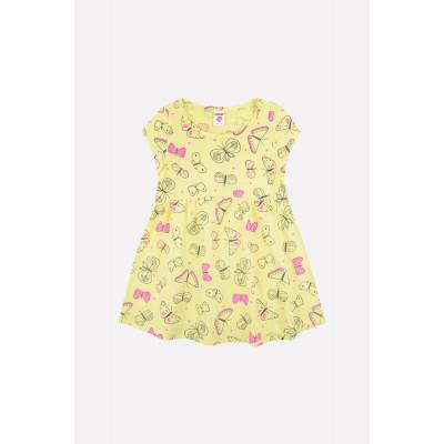 5515 Платье/бледно-желтый, бабочки