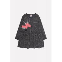 5642 Платье/темно-серый, горошки