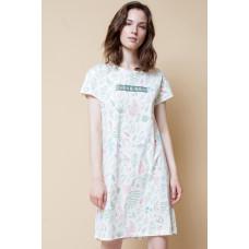 Е5191 Платье/сливки, листья папоротника