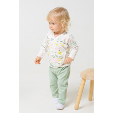 400009 брюки/пастельно-зеленый(зайчики в цветах)