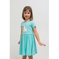 5694 Платье/морозная мята, горошки к1268