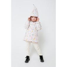 32096/н/5 куртка/белая лилия, зайчики в цветах