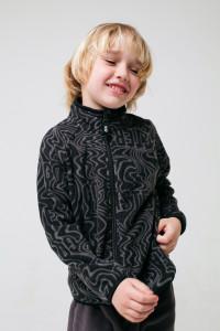 ФЛ 34011/н/44 ГР_Куртка флисовая_черный, серые волны