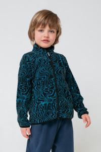 ФЛ 34011/н/45 ГР_Куртка флисовая_черный, синие волны